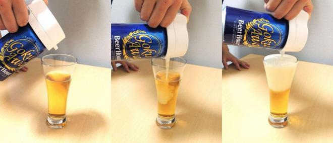 「ビールアワー 極泡ポータブル」でビールを泡立ててみると……