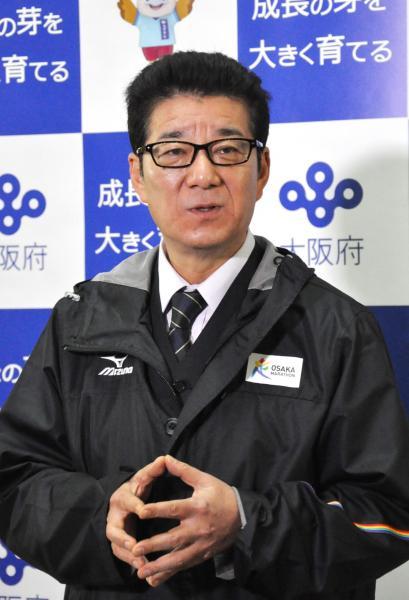 【9日】記者団の質問に答える松井一郎大阪府知事=大阪府庁