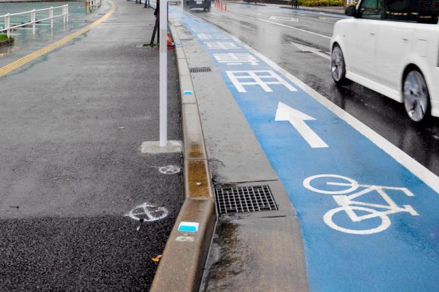 佐賀市内の自転車専用通行帯