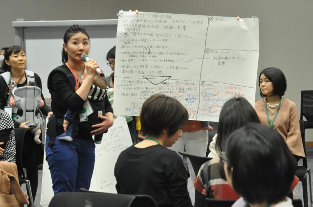 待機児童問題についてグループで話し合い、成果を発表する参加者たち=2017年3月、東京・永田町