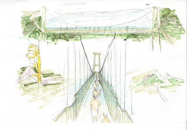 「架け橋かけ湯」のイメージ図。約130メートルのつり橋両側の欄干部分から温泉のシャワーが出るようにし、渡りながらかけ湯をしてもらう=別府市提供
