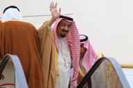 エスカレーター式の特製タラップで特別機に乗り込むサウジアラビアのサルマン国王=3月15日、羽田空港、代表撮影