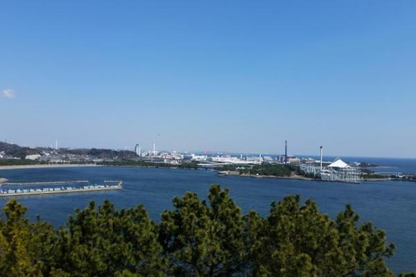 実際の野島公園からの眺め=記者撮影