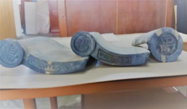 「禹」の文字がついた軒瓦=王敏教授提供