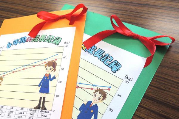 養護教諭が卒業生全員に手作りした「成長記録」。右上のリボンは、生徒の身長の伸びに応じて長さが異なる