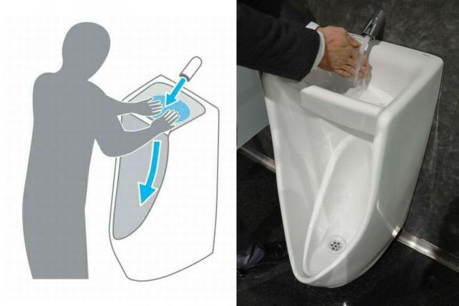 「手洗い器つき小便器」(右)と、その使い方
