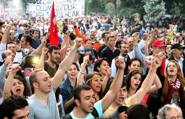 トルコ・イスタンブールのゲジ公園で、エルドアン首相(当時)の退陣を訴える人たち =2013年6月4日