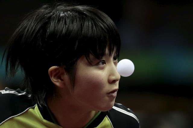 2015の世界卓球大会に参加した平野美宇選手=2015年4月、中国・蘇州