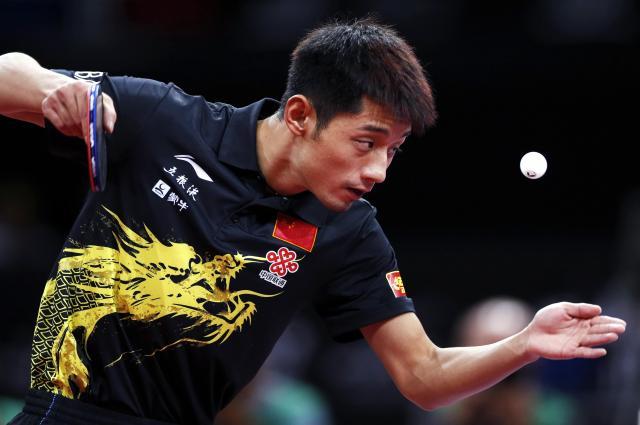 リオオリンピックで銀メダルを獲得し、パリの世界卓球大会のチャンピオンだった張継科選手=2013年5月、パリ