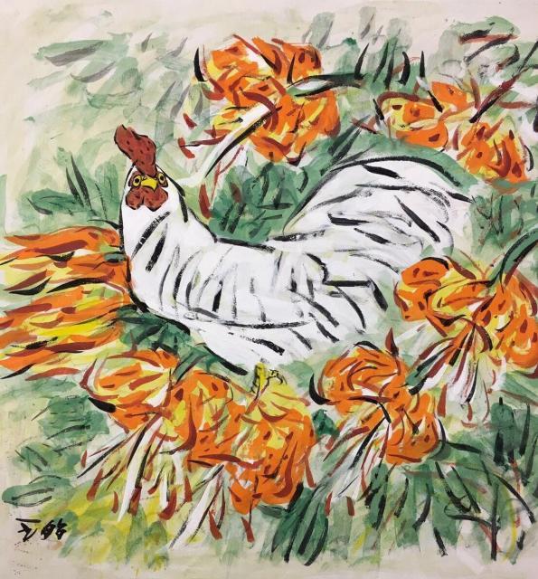 熱海個展の出展作品ーー鶏と百合(68×68cm)