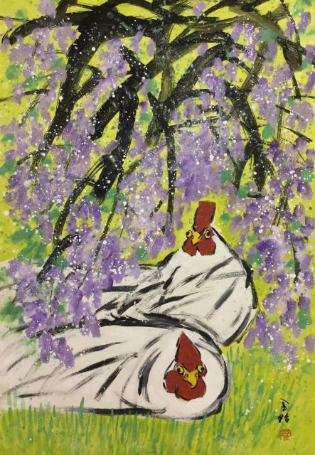 熱海個展の出展作品ーー鶏と藤の花(91×72.7cm)