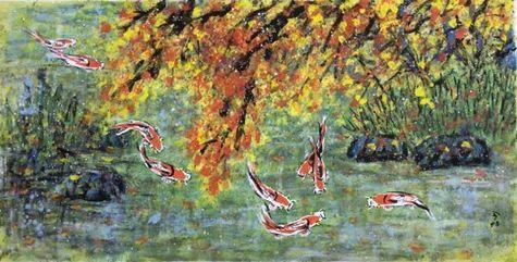 王昭さんの作品「紅葉と鯉」