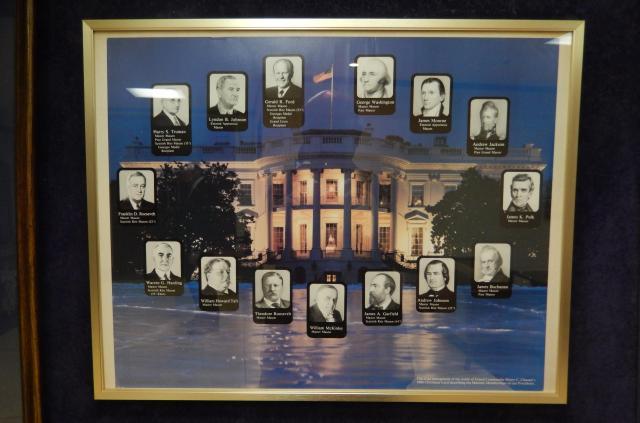 フリーメイソン会員だったアメリカ大統領一覧。日本グランドロッジの地下に設けられたフリーメイソン資料の展示棚に飾られている。デザインのもとは、アメリカの会員に配られた1984年のクリスマスカードから取られている。