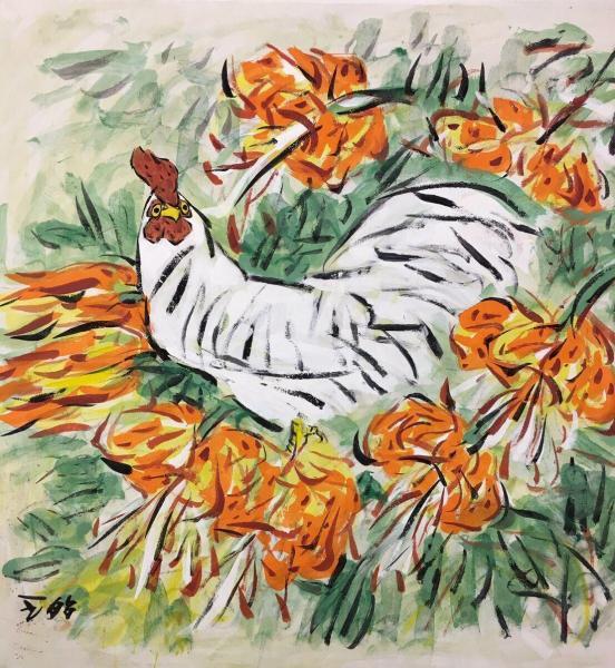 王昭さんの作品「鶏と百合」