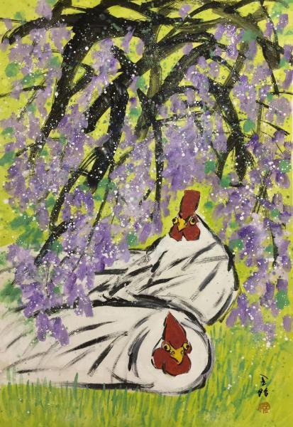 王昭さんの作品「鶏と藤の花」