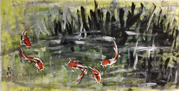 王昭さんの作品「鯉の池(冬)」