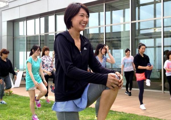 アディダスのスポーツイベントに参加した浅尾美和さん=2013年5月13日、東京都港区