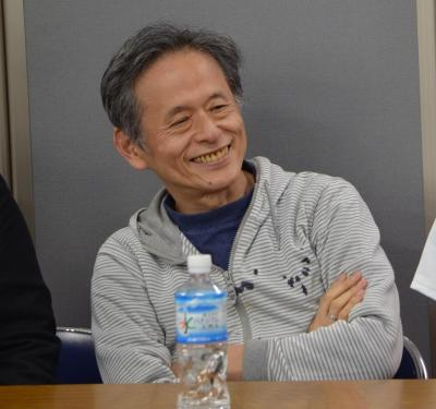 ゲームイベントにゲストとして参加した仁井谷正充さん。会場では「ぷよぷよをつくったゲーム業界のレジェンド」と紹介されていた=4月29日、東京・千代田区