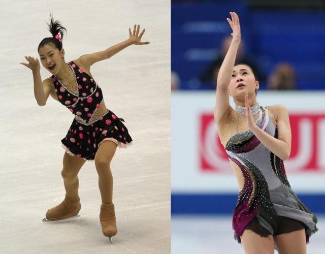 左)2010年NHK杯でSP2位につけた村上佳菜子=2010年10月22日、遠藤啓生撮影、右)14年世界選手権SPの村上佳菜子の演技=2014年3月27日、金川雄策撮影