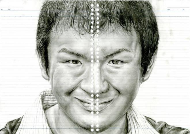野村一晟さんの自画像。ルーズリーフにシャーペンのHB芯で描いた