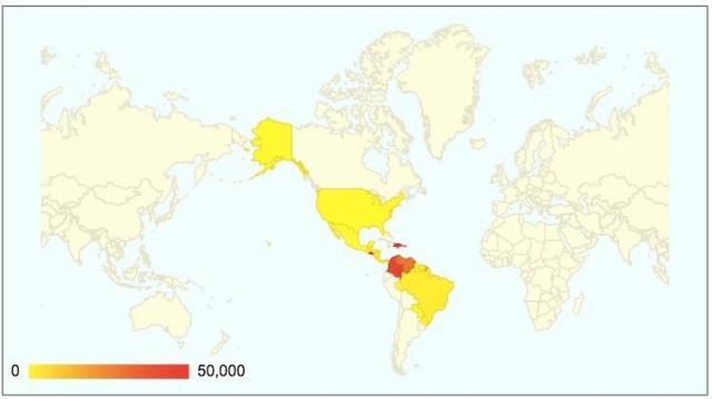 アメリカ大陸でのチクングニア熱感染者数