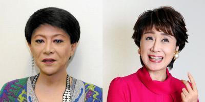美川憲一さん(左)と、小林幸子さん。衣装の派手さで共通する一方、選曲は対照的に
