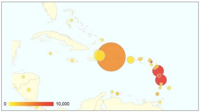 カリブ諸島でのチクングニア熱感染者数
