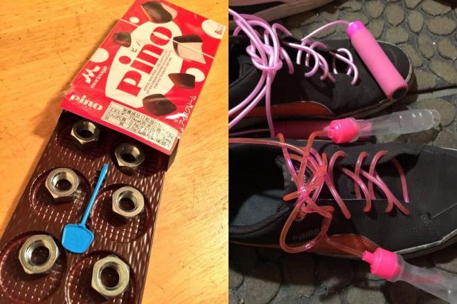 イタズラの一例。左は「ピノ」の中身をナットに入れ替えてある。右は靴ひもが縄跳びひもに