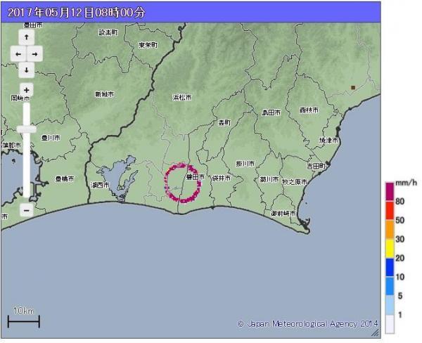 【午前8時】浜松・磐田両市に円状に分布した雨雲。実際に降雨はなく、システムの不具合が原因