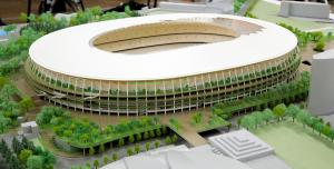 新国立競技場の模型。手前は東京体育館