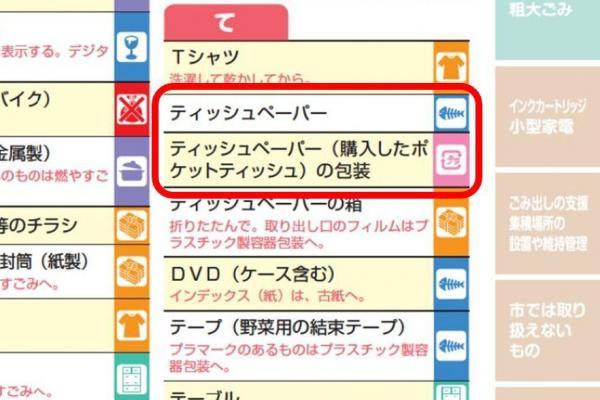 横浜市が市民に配布した、ごみの分別に関するパンフレット(最新版)。ティッシュ包装に関する記述は変更されているが、分別方法は従来通り