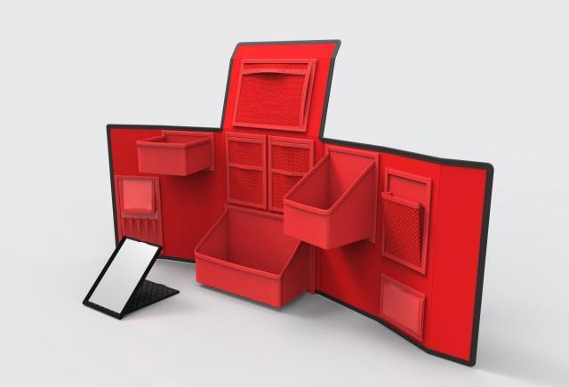 鮮やかな赤の化粧台に変身するコスメティックボックス