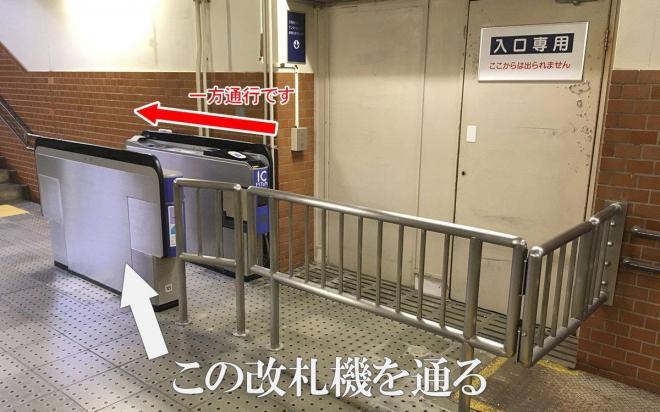 通路にポツンと設置された改札機。そのすぐ先には謎の扉。いったいどこにつながっているのか?