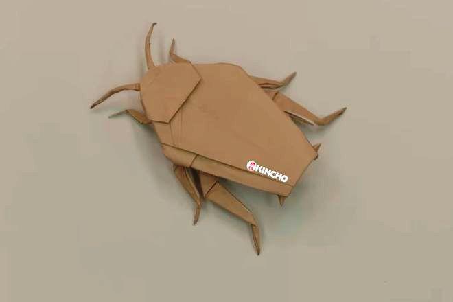 こちらが完成型です。折り方がわかりやすいよう、あえて動画では茶色の折り紙を使っているそうです