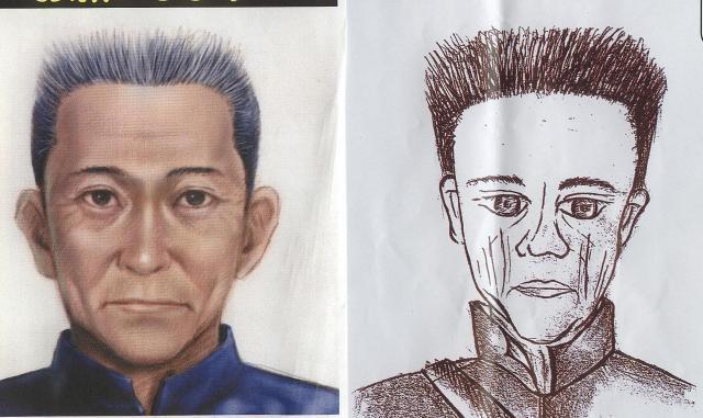 警察が公開した犯人の似顔絵。事件直後に発表されたもの(右)と数日後に発表されたもの