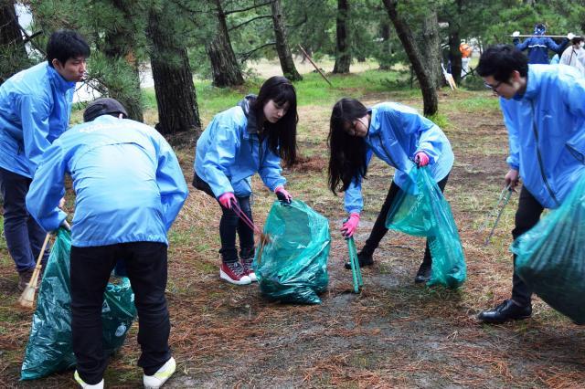 京都・天橋立でゴミ掃除をする人々(2015年)