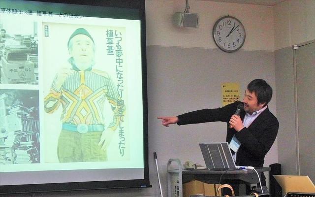 人工知能学会で発表する柳本さん=2014年11月