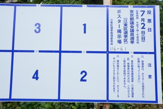 ポスター掲示版の各区画の上に、ひっそりと小さな番号が書かれています