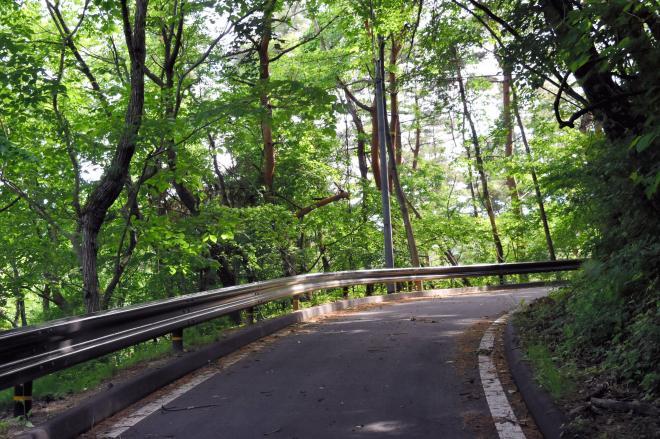 温泉に着くまでの山道。車がすれ違うのは無理です。こんな道が10キロ近く続きます=9日、福島市、小泉浩樹撮影