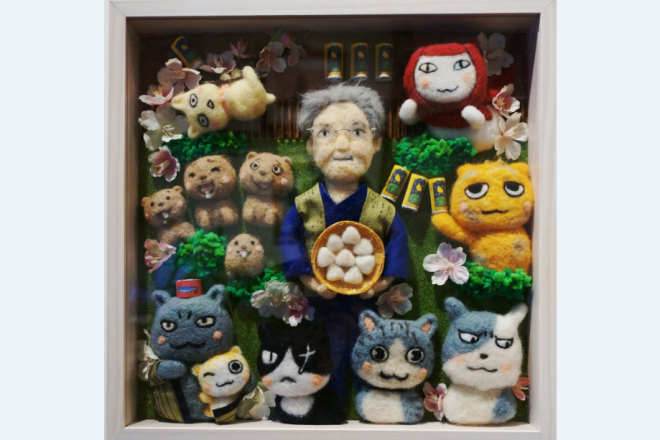 ファンによる夜廻り猫作品展に出展されたれんさんの作品=遠藤泰志さん提供