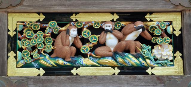 三猿の全体像=栃木県日光市の日光東照宮