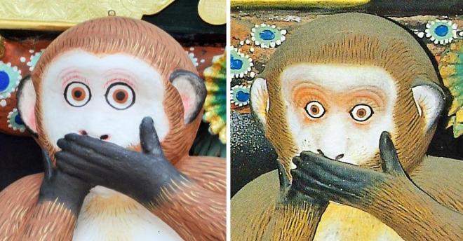 修理後の「言わざる」(左、2017年5月撮影)と、修理前のもの(右、日光社寺文化財保存会提供)