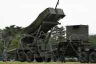 弾道ミサイル防衛訓練で設置されたPAC3用の発射機=21日午前6時27分、角野貴之撮影