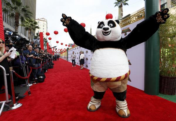 「カンフーパンダ」の主人公「ポー」=ハリウッド、カリフォルニア、2016年1月