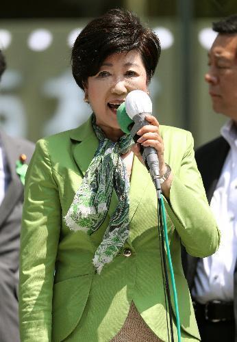 応援演説をする都民ファーストの会の小池百合子代表=23日午前、都内、林敏行撮影