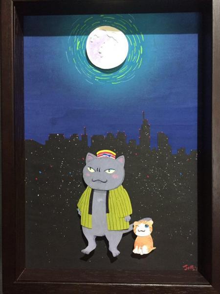 ホセさんの作品。夜廻りする理由について「あなたと話がしたいのだ」と、表現したシーンをモチーフにしました