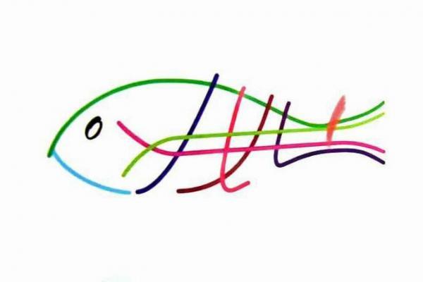路線図をもとに描かれた魚