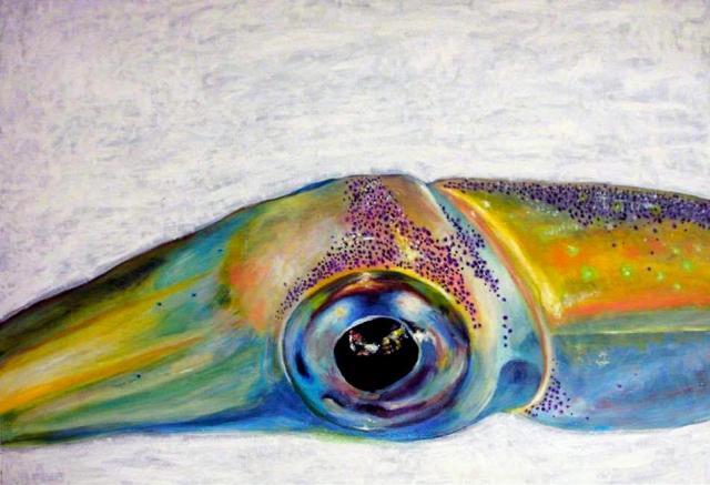 油彩で描いた剣先イカの目。函館のイカ加工会社の食堂に飾られている=宮内さん提供