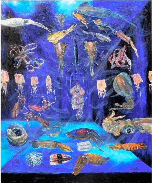 イカ画家が今までに出会ったイカとこれから出会うイカを描いた「まだ見ぬイカへ」という作品=宮内さん提供