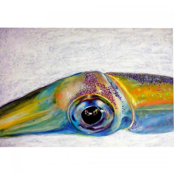 油彩で描いた剣先イカの目。函館のイカ加工会社の食堂に飾られている